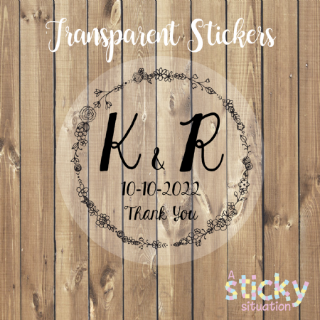 Personalised Transparent Thank You Wedding Stickers - Monogram Wreath Design